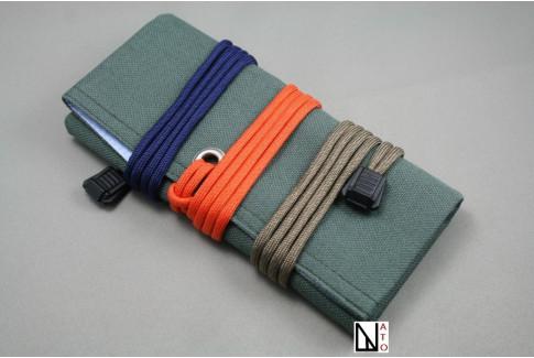 Marmotte en toile/tissu kaki pour montres & bracelets (à enrouler)