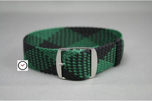 Bracelet montre Perlon tressé Noir Vert