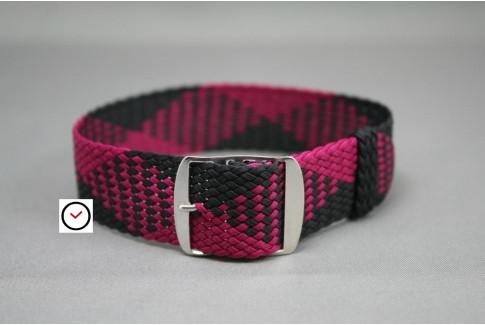 Bracelet montre Perlon tressé Noir Prune