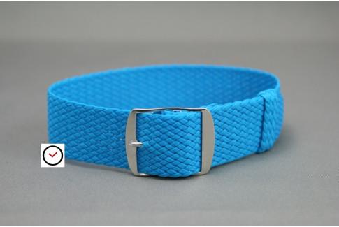 Bracelet montre Perlon tressé Bleu Caraïbes