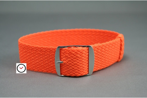Bracelet montre Perlon tressé Orange Fluo