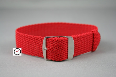 Bracelet montre Perlon tressé Rouge