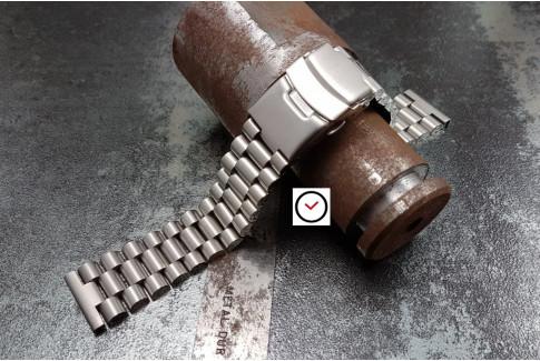 Bracelet montre Président en acier inox massif, boucle déployante avec sécurité (18, 20, 22 & 24 mm)