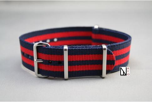 Bracelet nylon NATO Bleu Navy Rouge