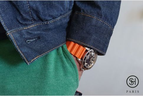Orange Diver SELECT-HEURE FKM rubber watch strap, quick release spring bars (interchangeable)