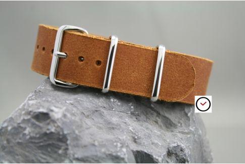 Tawny leather G10 NATO strap