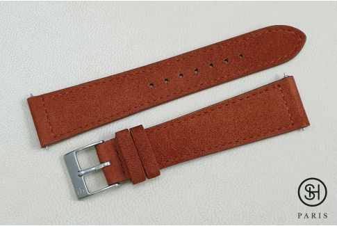 Bracelet montre cuir Suede SELECT-HEURE Épice avec pompes rapides (interchangeable)