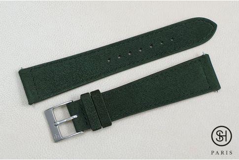 Bracelet montre cuir Suede SELECT-HEURE Vert Kaki avec pompes rapides (interchangeable)