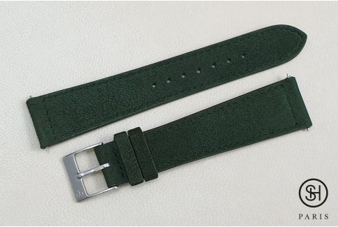 Kaki Green Suede SELECT-HEURE leather watch strap with quick release spring bars (interchangeable)