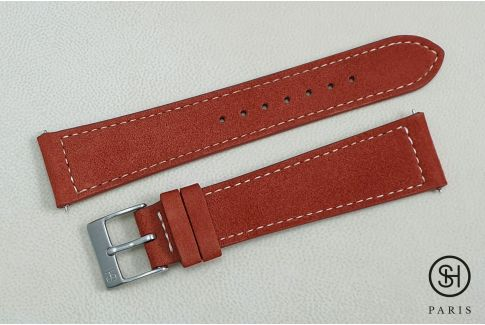 Clay Red Suede SELECT-HEURE leather watch strap with quick release spring bars (interchangeable)