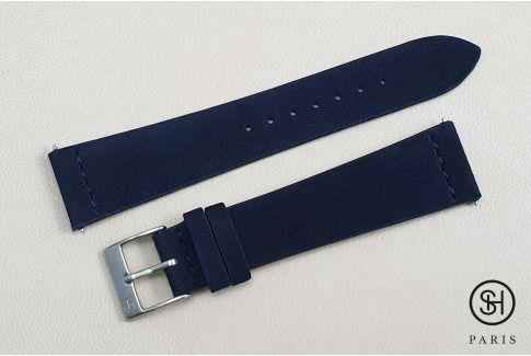 Bracelet montre cuir Suede SELECT-HEURE Bleu Nuit avec pompes rapides (interchangeable)