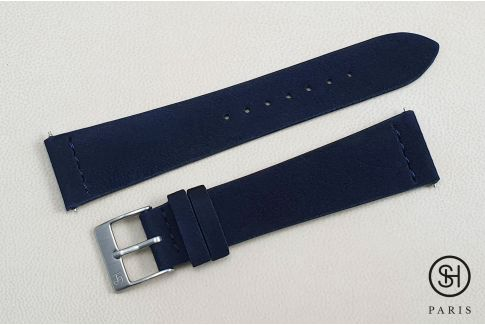 Night Blue Suede SELECT-HEURE leather watch strap with quick release spring bars (interchangeable)