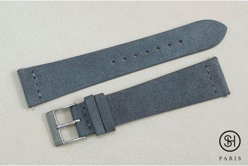 Bracelet montre cuir Suede SELECT-HEURE Gris avec pompes rapides (interchangeable)