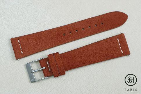 Bracelet montre cuir Suede SELECT-HEURE Épice couture écrue avec pompes rapides (interchangeable)