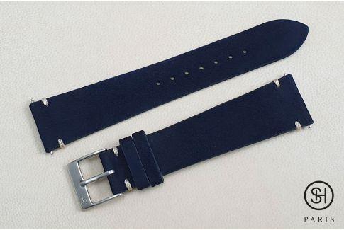 Bracelet montre cuir Suede SELECT-HEURE Bleu Marine coutures minimales avec pompes rapides (interchangeable)