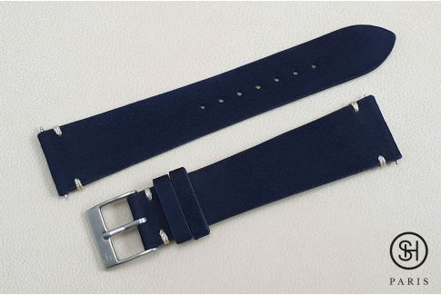 Navy Blue minimal stitching Suede SELECT-HEURE leather watch strap with quick release spring bars (interchangeable)
