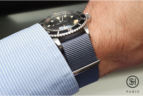 Blue Grey G10 NATO strap, polished buckle and loops