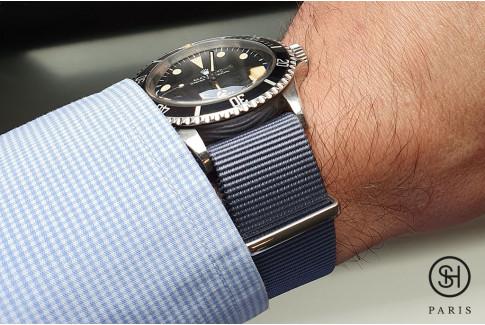 Bracelet nylon NATO Gris Bleu, boucle polie