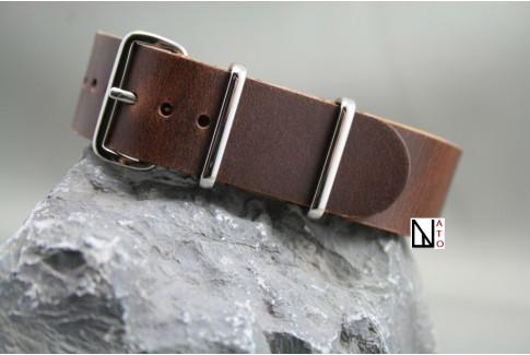 Bracelet cuir NATO Marron foncé effets vieillis
