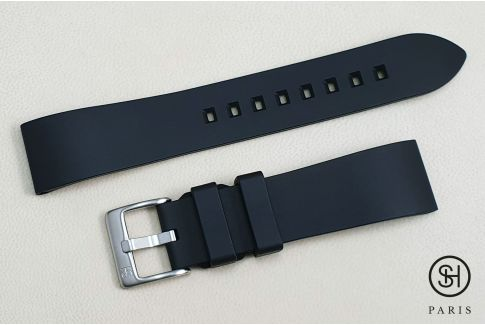 Black Essential SELECT-HEURE FKM rubber watch strap, quick release spring bars (interchangeable)