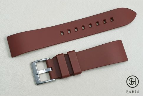 Brown Essential SELECT-HEURE FKM rubber watch strap, quick release spring bars (interchangeable)