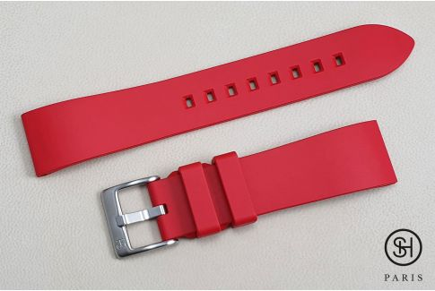 Red Essential SELECT-HEURE FKM rubber watch strap, quick release spring bars (interchangeable)