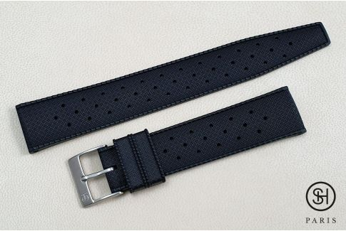 Black Tropic SELECT-HEURE FKM rubber watch strap, quick release spring bars (interchangeable)