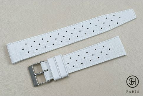 White Tropic SELECT-HEURE FKM rubber watch strap, quick release spring bars (interchangeable)