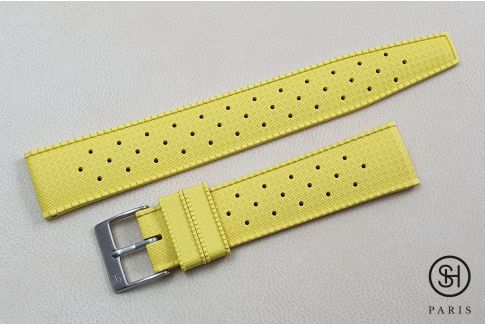 Yellow Tropic SELECT-HEURE FKM rubber watch strap, quick release spring bars (interchangeable)