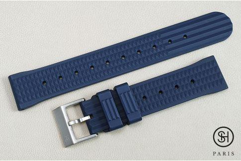 """Bracelet montre caoutchouc FKM SELECT-HEURE Waffle (""""Gaufré"""") Bleu Nuit, montage pompes rapides (interchangeable)"""