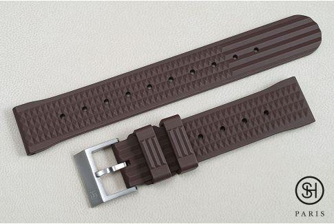 """Bracelet montre caoutchouc FKM SELECT-HEURE Waffle (""""Gaufré"""") Marron Chocolat, montage pompes rapides (interchangeable)"""
