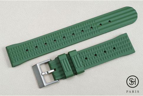 """Bracelet montre caoutchouc FKM SELECT-HEURE Waffle (""""Gaufré"""") Vert Militaire, montage pompes rapides (interchangeable)"""