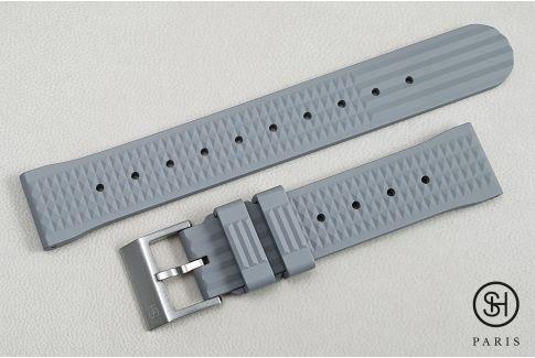 """Bracelet montre caoutchouc FKM SELECT-HEURE Waffle (""""Gaufré"""") Gris, montage pompes rapides (interchangeable)"""