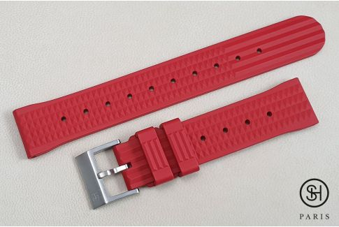 Red Waffle SELECT-HEURE FKM rubber watch strap, quick release spring bars (interchangeable)