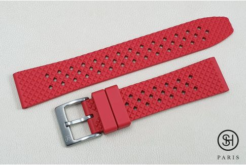 Red Rallye SELECT-HEURE FKM rubber watch strap, quick release spring bars (interchangeable)