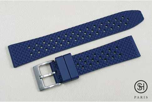 Navy Blue Rallye SELECT-HEURE FKM rubber watch strap, quick release spring bars (interchangeable)
