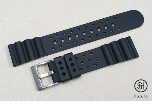 Black Diver SELECT-HEURE FKM rubber watch strap, quick release spring bars (interchangeable)