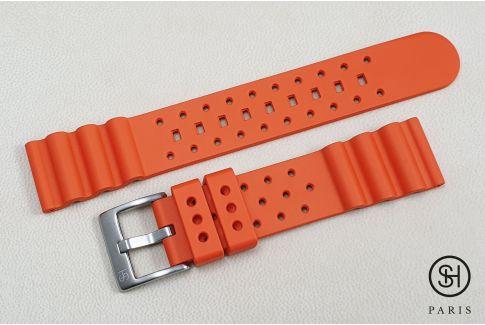 Bracelet montre caoutchouc FKM SELECT-HEURE Plongeur Orange, montage pompes rapides (interchangeable)