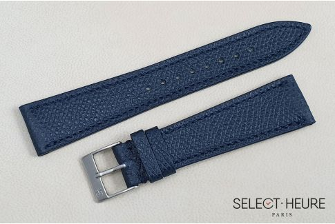 Dark Blue French Grained Calfskin SELECT-HEURE leather watch strap, hand-made in France