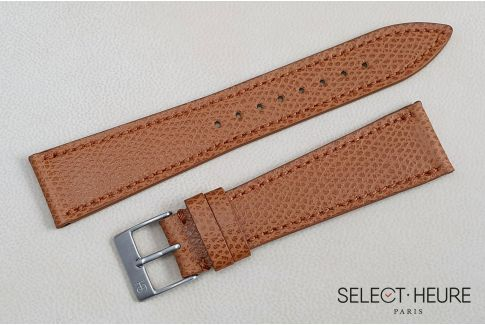 Gold Brown French Grained Calfskin SELECT-HEURE leather watch strap, hand-made in France