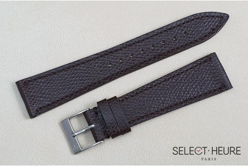 Dark Brown French Grained Calfskin SELECT-HEURE leather watch strap, hand-made in France