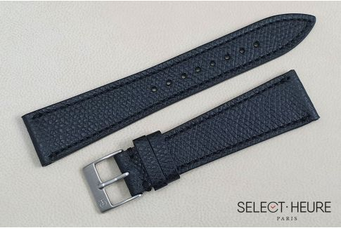 Black French Grained Calfskin SELECT-HEURE leather watch strap, hand-made in France