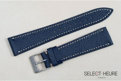 Dark Blue French Grained Calfskin SELECT-HEURE leather watch strap, off-white stitching, hand-made in France
