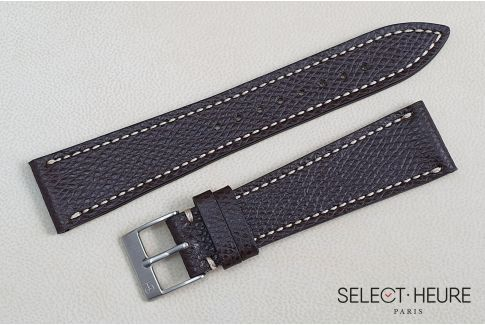 Dark Brown French Grained Calfskin SELECT-HEURE leather watch strap, off-white stitching, hand-made in France