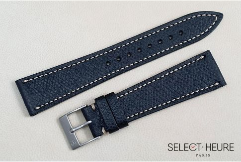 Black French Grained Calfskin SELECT-HEURE leather watch strap, off-white stitching, hand-made in France