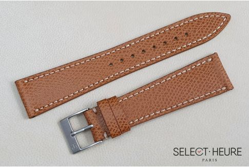 Gold Brown French Grained Calfskin SELECT-HEURE leather watch strap, off-white stitching, hand-made in France
