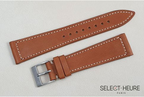 Cognac French Baranil Calfskin SELECT-HEURE leather watch strap, off-white stitching, hand-made in France