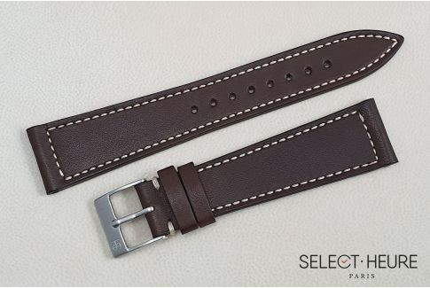 Brown French Baranil Calfskin SELECT-HEURE leather watch strap, off-white stitching, hand-made in France