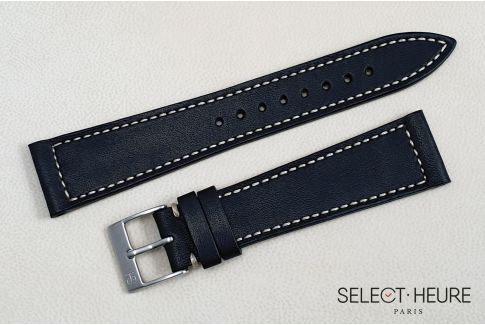 Mat Black French Baranil Calfskin SELECT-HEURE leather watch strap, off-white stitching, hand-made in France