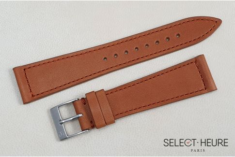 Bracelet montre Veau Baranil SELECT-HEURE Cognac coutures ton sur ton, fait main en France, cuir français